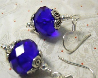 70% SALE Cobalt Blue Czech faceted Glass Rondel earrings with silver accents