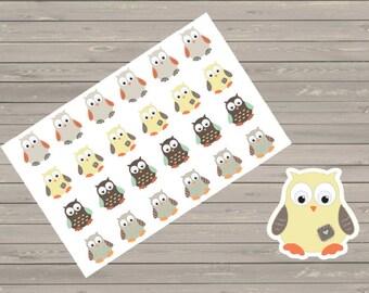 24 Boy Owl Stickers, Shown In An Erin Condren Planner, Stickers, Planner Stickers