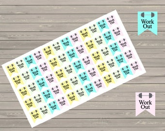 Workout Planner Stickers, Workout Stickers, Fits Erin Condren Planner, Stickers, Exercise Stickers, Fitness Stickers, Reminder, Gym