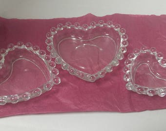 Candlewick Nesting Set Heart Dishes Candy, Nut,Trinket, Imperial Glass