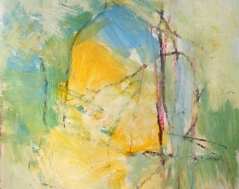Yellow and blue Expressive abstract painting with green