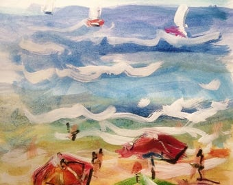 Sailboats with Beach umbrellas and blue ocean watercolor painting
