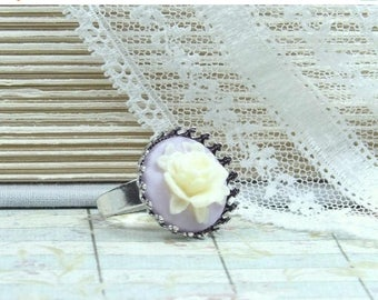 Yellow Cameo Ring Rose Cameo Ring Victorian Ring Yellow Flower Ring Adjustable Ring Victorian Jewelry