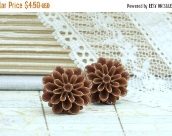 Brown Flower Studs Clearance Jewelry Brown Stud Earrings Clearance Sale Mum Studs Clearance Earrings