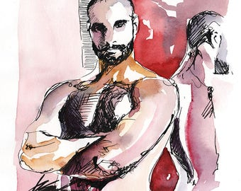 """Reflection - Male Figure 4x4"""" ink and watercolor on paper - ORIGINAL by Brenden Sanborn"""