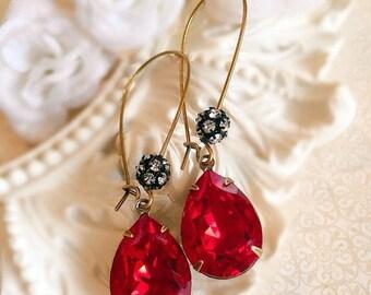 SALE 20% Off Bridesmaid Gifts - Red Earrings - Crystal Earrings - Ruby Earrings - Jewelry Gifts - July Birthstone Gift - Bridesmaid Earrings