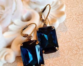SALE 20% Off art deco earrings - Navy - Art Deco Jewelry - Victorian - WINDSOR Navy