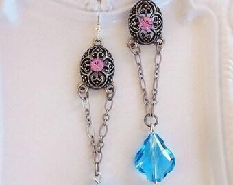 50% Off Clearance Sale Blue Chandelier Earrings - Lavender Earrings - Victorian Earrings - PRINCESS Blue
