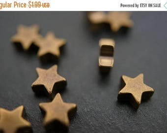 SUMMER SALE Authentic Vintage Raw Brass Stock Cute Dainty Little Stars Charms - 10 pieces