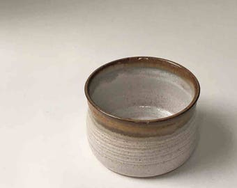 One Appetizer Crock, 2 1/2 Cup Bowl, Rustic Brown and Speckled White, Stoneware Cheese Crock, Chowder Bowl, Kitchen Bowls and Serving
