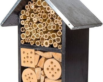 Save25% Beneficial Bug Hotel-Black Metal Roof-Organic gardening house-Pollinator house