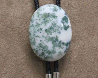 Naked Gemstone Tree Agate Bolo Tie