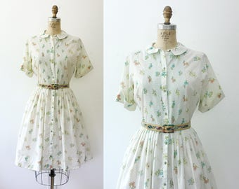 50s cotton dress / vintage shirt dress / Dentaria Flower dress