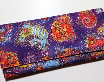 Coupon Organizer Cats by Laurel Burch  / Storage Case with Dividers / Check Book Case