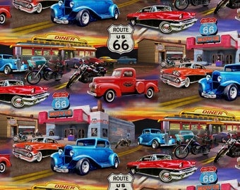 Route 66 Hot Rods Cotton Fabric by the yard and by the half yard