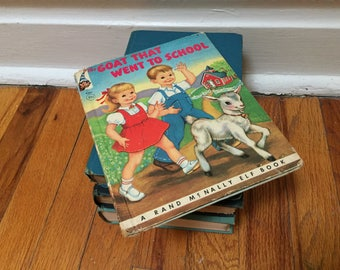 The Goat that Went to School Book Children's Book Distressed Hardcover Rand McNally Elf Book