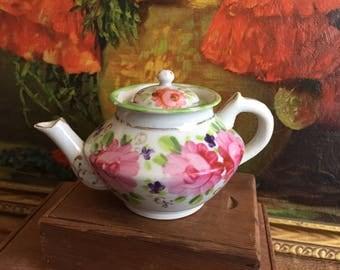 Small Teapot Jug Vase Vintage Distressed Pink Floral Painted