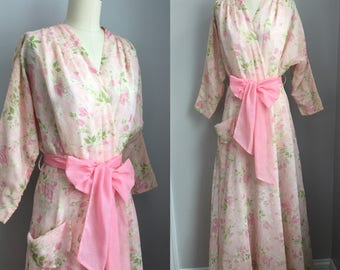 Vintage 1950s Pink Floral Marilyn Dressing Gown Robe Size Small