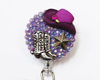 For Cowgirls Only In Purple ID Badge Reel - Retractable ID Badge Holder - Zipperedheart
