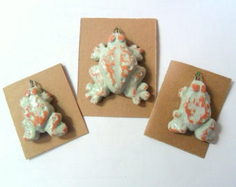 A Trio of Frogs in Kiln Fired Terra Cotta Clay, Charm or Pendant Findings