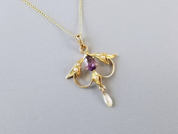 Delicate antique Edwardian 14k gold amethyst and seed pearl lavalier necklace pendant, signed Esemco Shiman