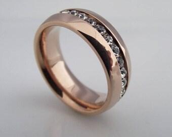 Eternity diamond wedding band, channel setting diamond ring, cz diamond wedding ring, wide ring, rose gold wedding ring, size 5.5 (309A)