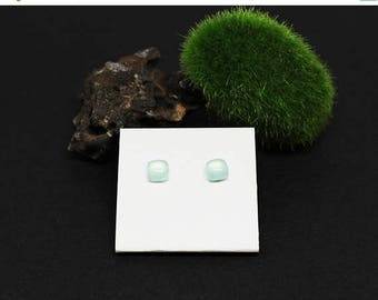 Christmas In July Sale - Chalcedony Gemstone . 6mm Squares . Sterling Silver Posts Studs Earrings . Pale Baby Blue . E16070