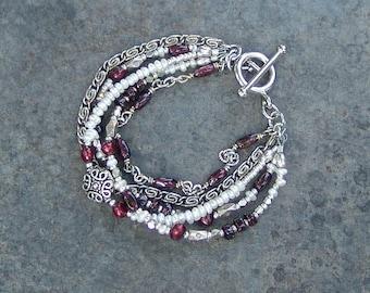 Garnet, Freshwater Pearl and Silver Chain Multi-Strand Bracelet