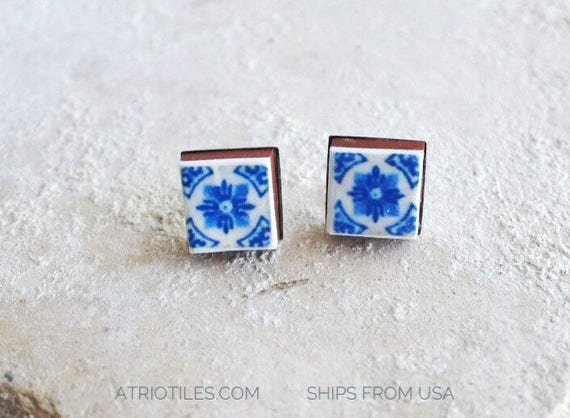 Stud Earrings Post Tile Portugal Azulejo, Blue Stainless Steel - Gift Box Included -Hypo allergenic - Gift for Her - Ships from USA 493