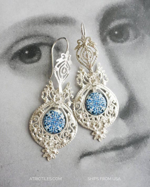 Earrings Portugal Silver Filigree Antique Azulejo Tile AvEIRO Blue and Porto Miragaia  - Queen's Earrings - Brincos da Rainha