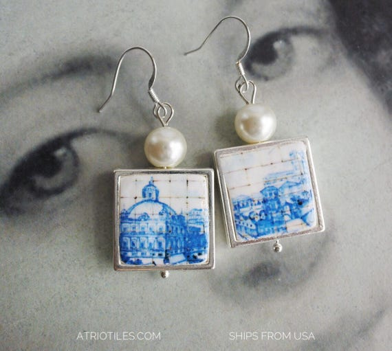 Earrings Tile Portugal Azulejo Lisbon Blue Antique Great View of Lisbon 1700 pre-earthquake tsunami - Ships from USA