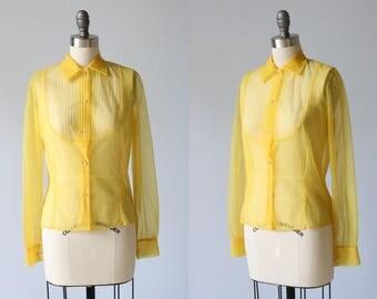 Golden Yellow 1950s Blouse / 50s Blouse / Sheer Nylon Blouse / Pintucks and Ruffles
