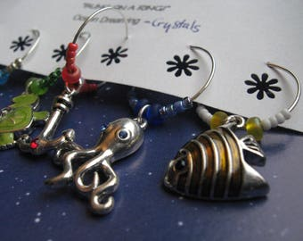 Nautical Adventures of the Sea - Swarovski Crystals - Wine and Drink CHARMS