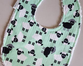 Baby Bib - Sheep on Mint Green with White Chenille