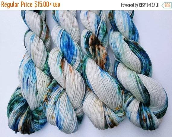 4th of July Sale Muddy Waters- 100% Cotton, Hand Dyed, Variegated, Speckled, Hand Painted Yarn