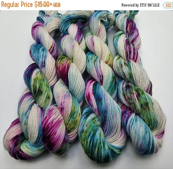 4th of July Sale Enchanted- 100% Cotton, Hand Dyed, Variegated, Speckled, Hand Painted Yarn