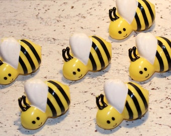 NEW - Bumble Bee Ring Toppers  (Qty 12) Bumble Bee Picks, Bumble Bee Topper, Bumble Bee Decorations, Bumble Bees, Bumble Bee Cupcake Toppers