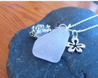ON SALE Sea Glass Necklace Lavender summer  boho gypsy
