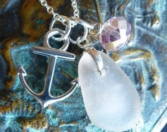 ON SALE Sea Glass Necklace Anchors Away