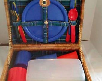 Lined Picnic Basket Set