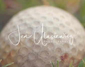 Vintage Golf Ball in Grass Sports Photography Print, macro, man cave, boys room, nursery, still life