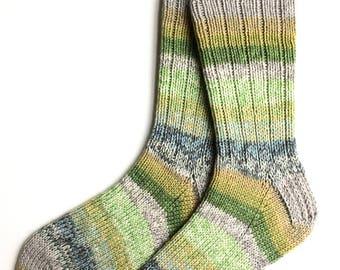 Handknit Socks for Women, Teen Girls, Ladies Socks, merino wool socks, DK weight socks, green yellow gray socks, striped socks, knit socks