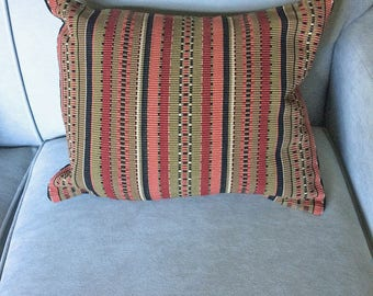 Handwoven, Striped Throw Pillow in Earthtones of Black, Olive Green and Dusty Pink