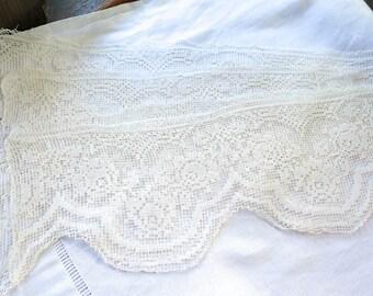 "Vintage Filet Lace Trim Borders in Ivory Cotton Scalloped Edges 18"" x 6""  Four Pieces"