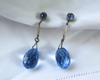 Art Deco Drop Earrings Faceted Glass Tear Drop in Light Sky Blue Screw Backs