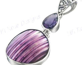 "1 11/16"" Purple Mother Of Pearl Turbo Shell Amethyst 925 Sterling Silver Pendant"