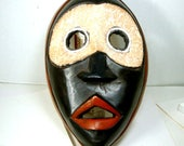 RESERVED, Dramatic African Wood MASK, GHANA Wood Carving Design, 1990s, Wall Sculpture,  Ethnic Tribal Art, Black White Red Face