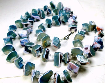 Denim Blue n Lavender Mother of Pearl SeaShell Necklace, 1960s  Chunky MOP Shell Nuggets w Clear White Glass Seed Beads