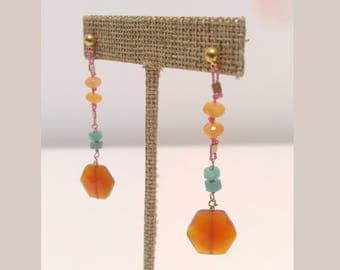 Carnelian and Amazonite, Hand strung on Pink Silk