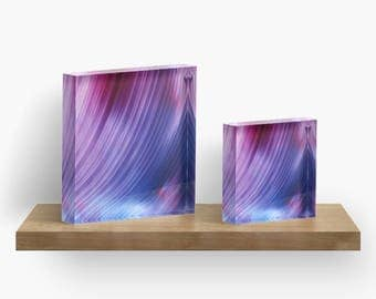 Blue Violet Aurora or ANY of My ART on Acrylic Block / Shelf, Mantle, Desk Art, Paperweight / Small Space Art / Made to Order in 2 Sizes